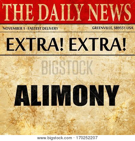 alimony, newspaper article text
