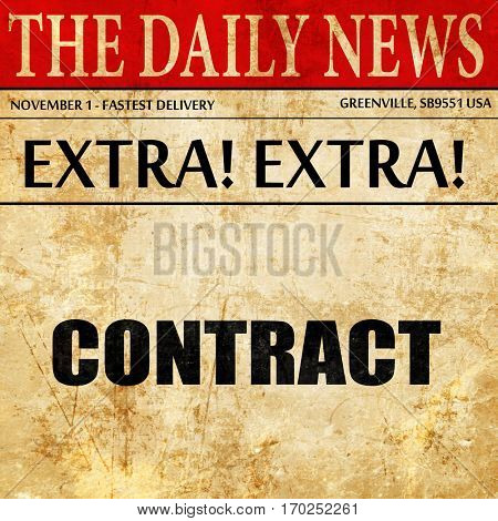 contract, newspaper article text