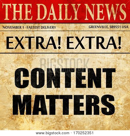 content matters, newspaper article text