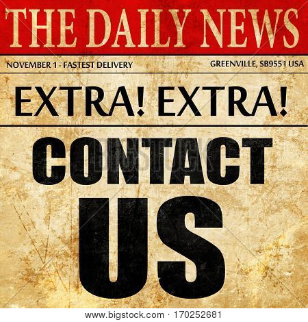 contact us, newspaper article text
