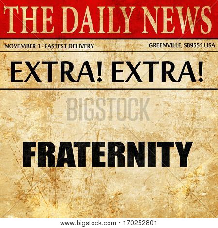 fraternity, newspaper article text