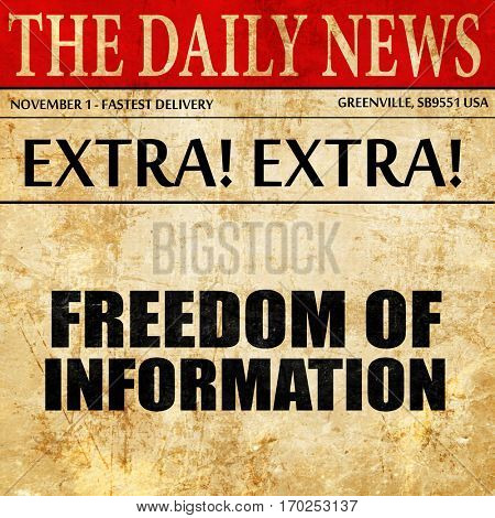 freedom of information, newspaper article text