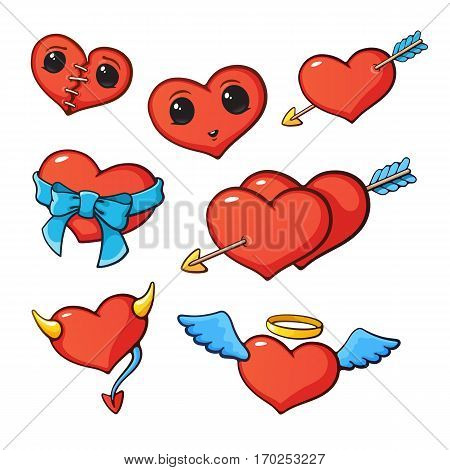 Vector illustration. Set of happy hearts with wings, horns, arrow, ribbon, eyes and seam for valentine day. Cartoon style with contour. Decoration for greeting cards, patches, prints for clothes, emblems