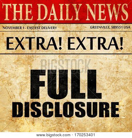 full disclosure, newspaper article text