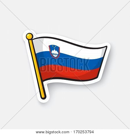 Vector illustration. Flag of Slovenia on flagstaff. Location symbol for travelers. Cartoon sticker with contour. Decoration for greeting cards, posters, patches, prints for clothes, emblems