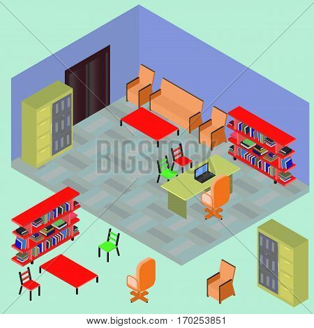 Isometric work place with set of objects: table computer bookshelves armchair sofa folder file books in vector