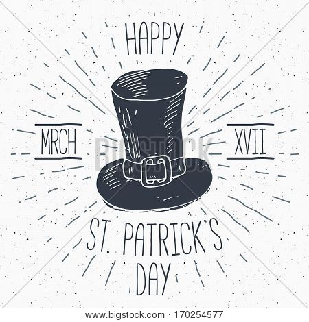 Vintage Label, Hand Drawn Leprechaun Hat, Happy Saint Patricks Day Greeting Card, Grunge Textured Re