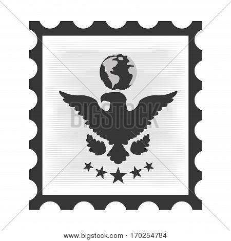 postal stamp with eagle vector illustration design