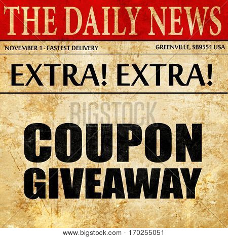 coupon giveaway, newspaper article text
