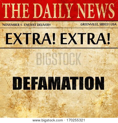 defamation, newspaper article text