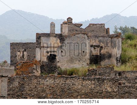 Houses of Ghost town of Kayakoy (Turkey)