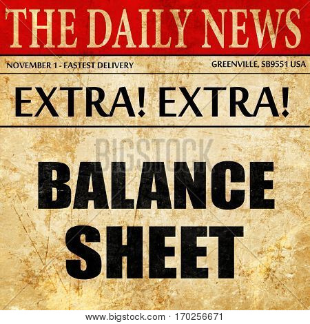 balance sheet, newspaper article text