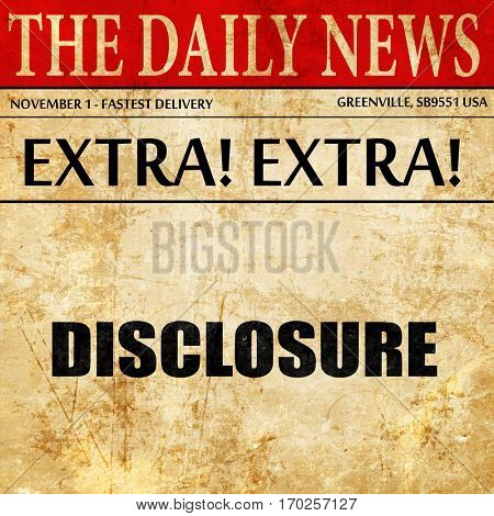 disclosure, newspaper article text