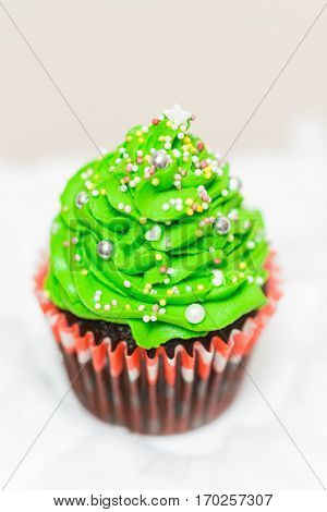 delicious cupcake in the shape of Christmas tree