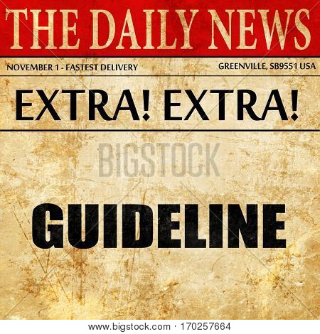 guideline, newspaper article text