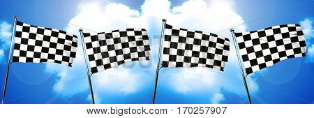 chequered racing  flag, 3D rendering
