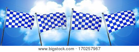 chequered golf or racing  flag, 3D rendering