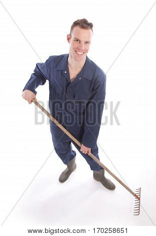 Young farmer isolated on a white background