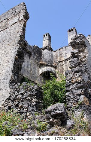 Building of Ghost town of Kayakoy (Turkey)
