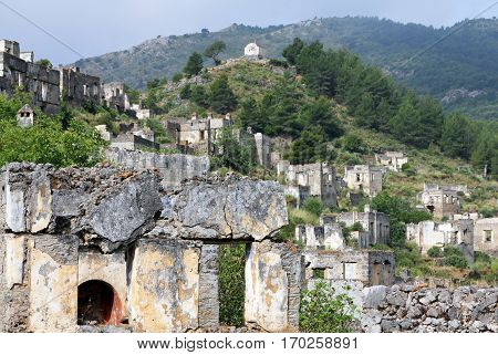 View of the Ghost town of Kayakoy (Turkey)