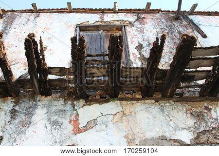 Abandoned old earthen house in the Ghost town of Kayakoy (Turkey)