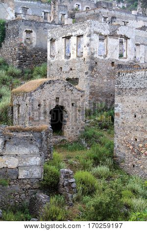 Ghost town of Kayakoy (Turkey) background outdoor