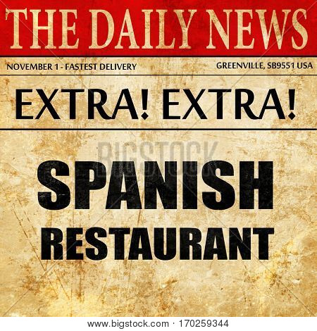 Delicious spanish cuisine, newspaper article text