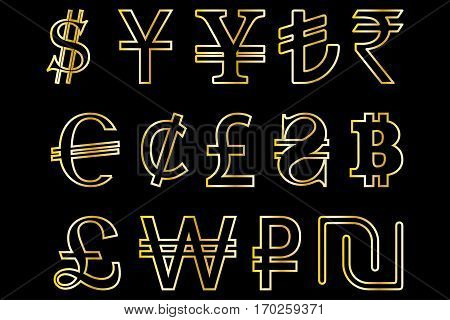 Set symbols of the leading world currencies vector illustration , currencies symbols
