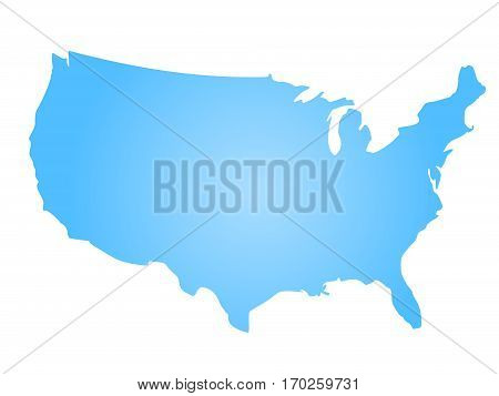 Blue radial gradient silhouette map of United States of America, aka USA. Vector illustration.