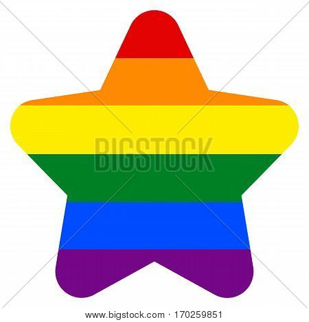 Use it in all your designs. Rainbow pride flag LGBT movement in star shape. Quick and easy recolorable shape. Vector illustration a graphic element.