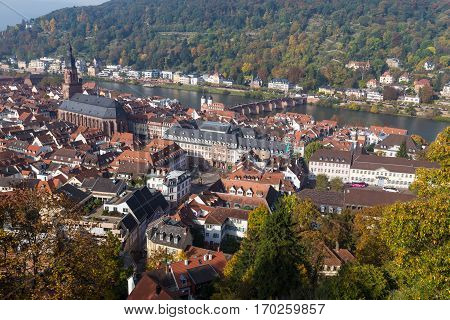 Cityscape of historic city Heidelberg Germany. Top view of roof of the house. Famous tourist destination