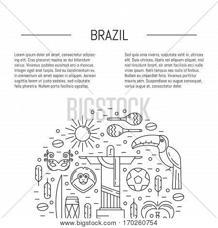 Vector illustration with Brazil symbols in trendy linear style made in a shape of circle. Travel to Brazil concept