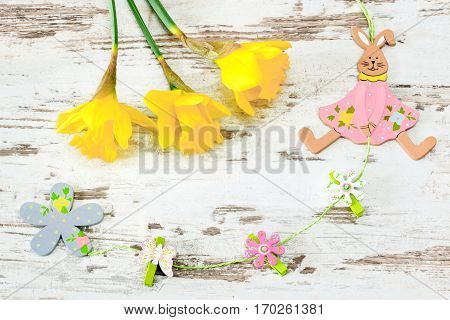 easter bunny with jonquil on bright wooden background