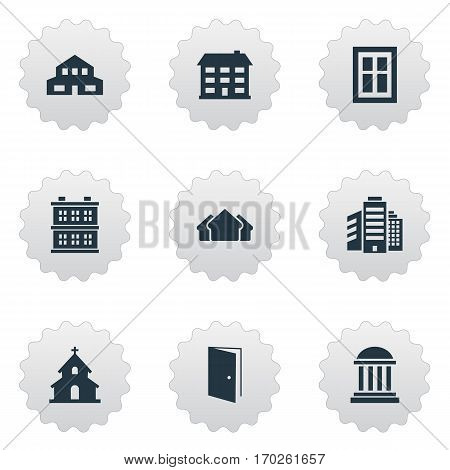 Set Of 9 Simple Construction Icons. Can Be Found Such Elements As Popish, School, Academy And Other.