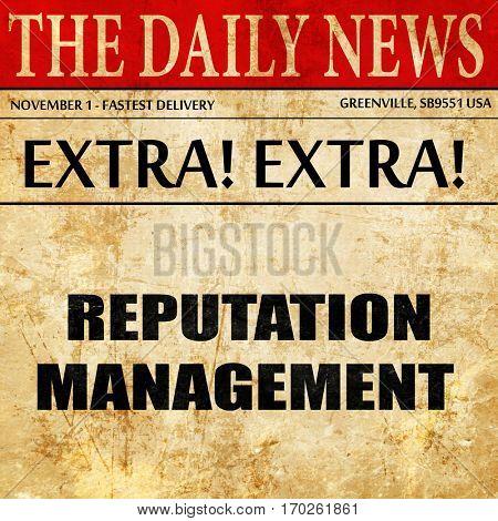 reputation management, newspaper article text