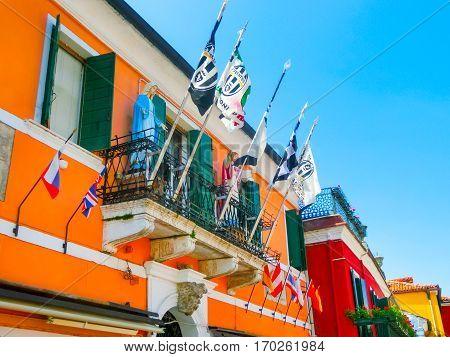 Burano, Venice, Italy - May 10, 2014: Colorful old houses on the Island of Burano near Venice, Italy on May 10, 2014