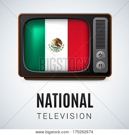 Vintage TV and Flag of Mexico as Symbol National Television. Tele Receiver with Mexican flag