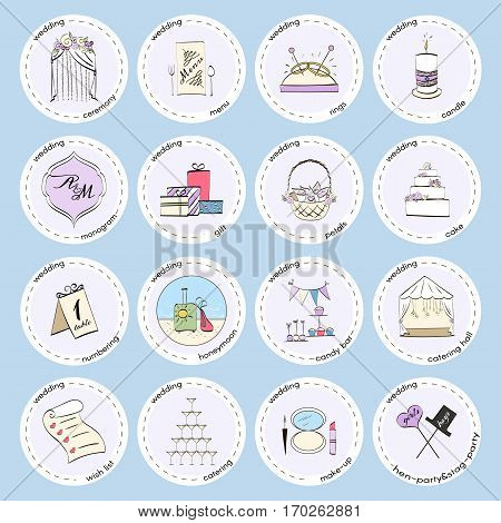 Vector set with wedding icons and elements. Used for wedding info graphics, websites, business presentations, wedding agency s plans.