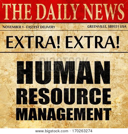 human resource management, newspaper article text