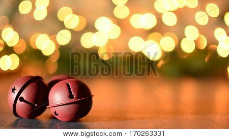 Sleigh Jingle bells with glowing bokeh background