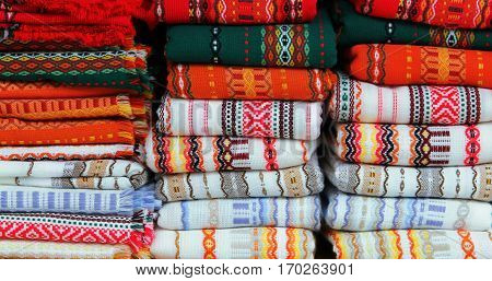 Colorful fabrics with traditional Bulgarian embroidery