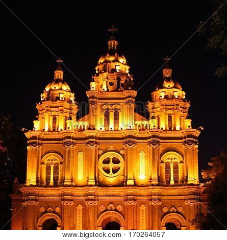 Night View Of St. Joseph's Church, Also Known As Wangfujing Cathedral (dongtang), Beijing, China