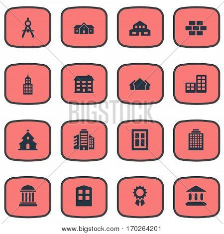Set Of 16 Simple Construction Icons. Can Be Found Such Elements As Superstructure, Popish, Flat And Other.