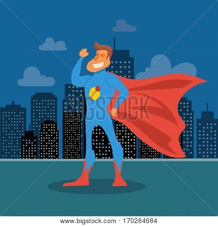 Super hero cartoon comic character power costume flat style vector stock