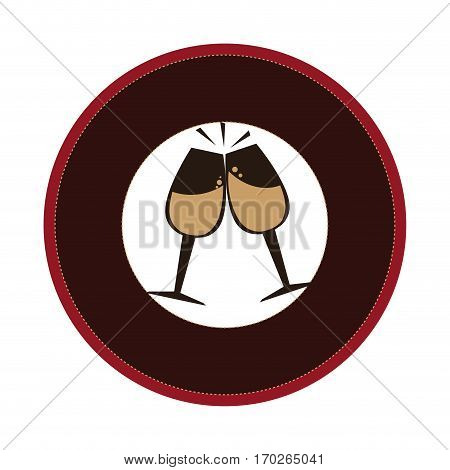 circular border with champagne toast cups vector illustration