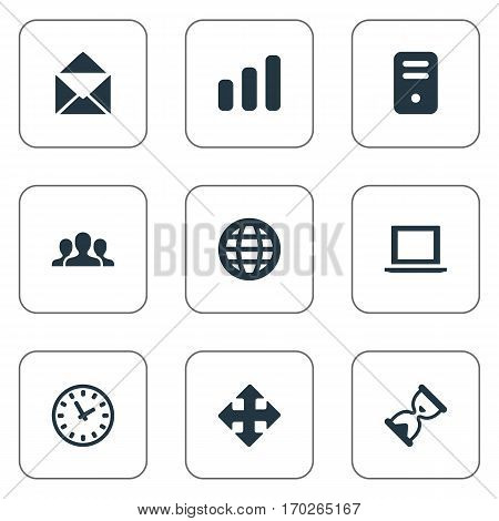 Set Of 9 Simple Practice Icons. Can Be Found Such Elements As Envelope, Sand Timer, Notebook.