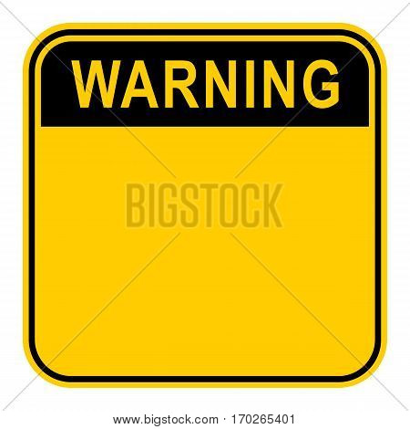 Use it in all your designs. Empty safety sign board with word Warning. Sticker square-shaped painted in black and yellow colors. Quick and easy recolorable graphic element in vector illustration