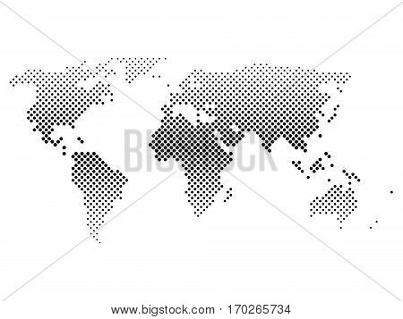 Black halftone world map of small dots in diagonal arrangement. Bilinear horizontal gradient. Simple flat vector illustration on white background.