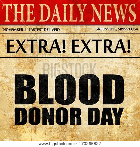 blood donor day, newspaper article text