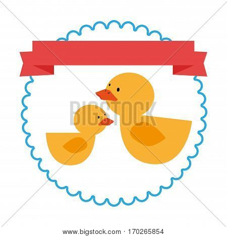 border with label and ducks toy vector illustration